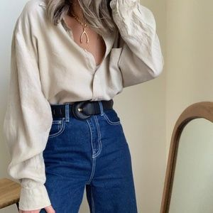 Vintage Tops - Vintage Ecru Linen Button Up